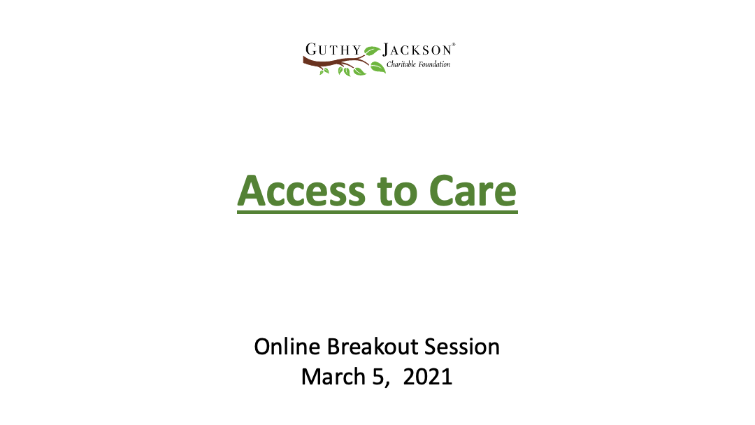 Online Breakout Session: Access to Care